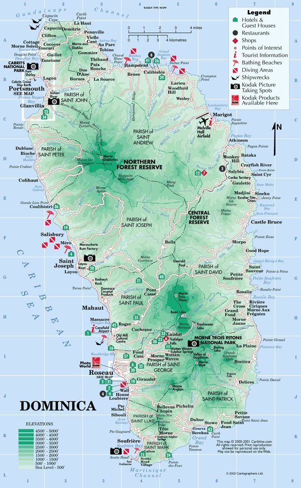 Dominica Travel Guide Information About Dominica Commonwealth - Physical map of dominica